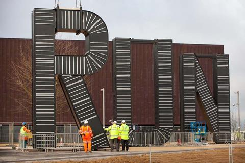 Monica Bonvicini's RUN sculpture has started to be installed on the plaza of the London 2012 Handball Arena